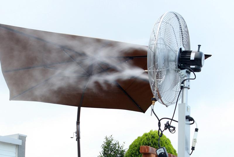 Raffrescamento evaporativo, nebulizzatori da esterni